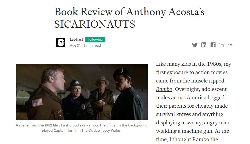 Brilliant Review of SICARIONAUTS by the Authoritative Laptiast